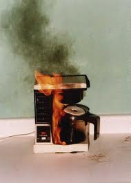 coffee pot on fire