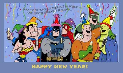 dc comics, happy new year, wonder woman, superman, batman